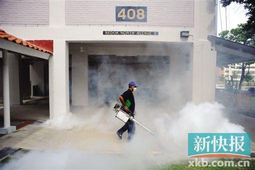 ■1日,工作人员在新加坡一处居民区灭蚊。新华社发
